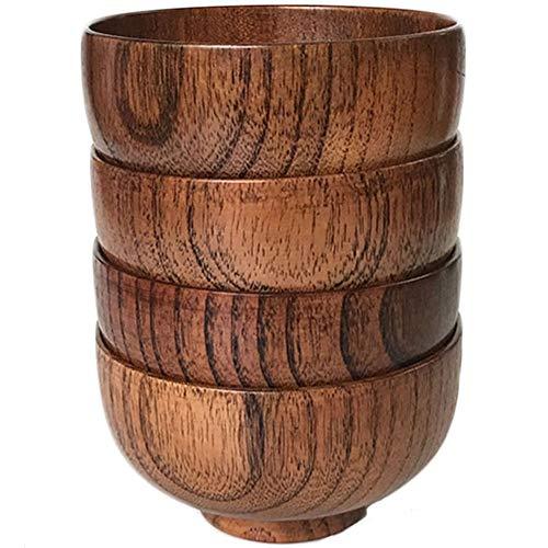 Cospring Set aus 4 Schalen aus Massivholz, 11,4 cm Durchmesser x 6,4 cm, für Reis, Suppe, Dip, Dekoration (mittel)