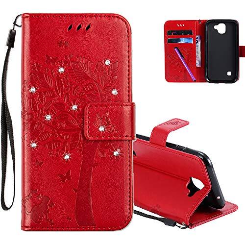 COTDINFOR LG K3 2017 Hülle für Mädchen Elegant Retro Premium PU Lederhülle Handy Tasche mit Magnet Standfunktion Schutz Etui für LG K3 2017 Red Wishing Tree with Diamond KT.