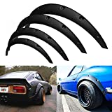 AXECO 4PCS Universal Fender Flare 2' Front / 3' Rear Wide Body Kit Flexible Durable Wheel Eyebrow Extension Extra Wide Wheel Arch Black Polyurethane