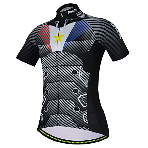 Aogda Cycling Jersey Short Sleeve Men Bike Bicycle Clothing Shirts Cycle Skinsuits Wear D196 (A Shirt, M)