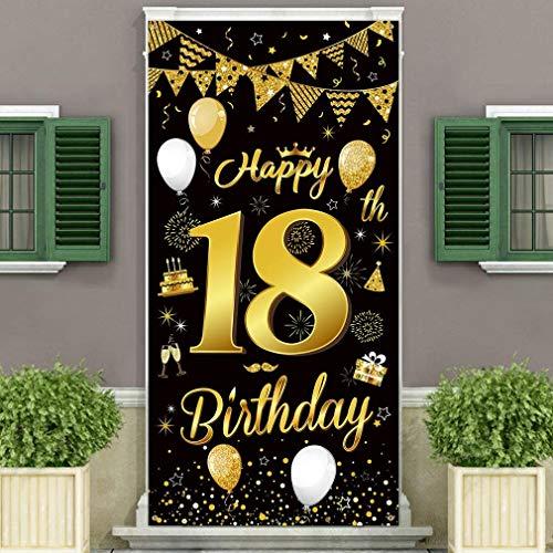 18.Geburtstagsfeier Dekorationen Banner Hintergrund,Schwarzes und Gold Dekoration für Jungen und Mädchen der 18.Geburtstagsfeier,wesentliche für 18.Geburtstagsfeier,185×90 cm (72.8×35.4 Zoll)