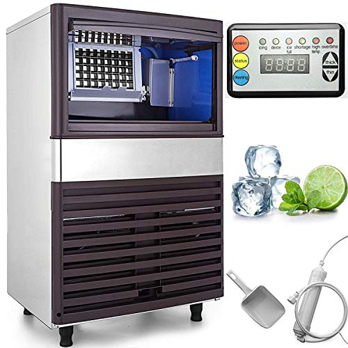VEVOR 110V Commercial Ice Maker 155LBS/24H with 44lbs Storage Capacity Stainless Steel Commercial Ice Machine W/Scoop 55 Ice Cubes Per...