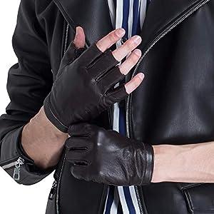CHULRITA Women/Men Leather Driving Gloves Sheepskin Fingerless Motorsports Retro Half/Full Finger Motorcycle Cycling Gloves