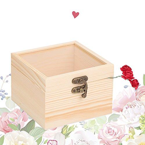 SH-RuiDu Caja de madera de la caja del anillo para el almacenamiento de la joyería del regalo 12*12cm