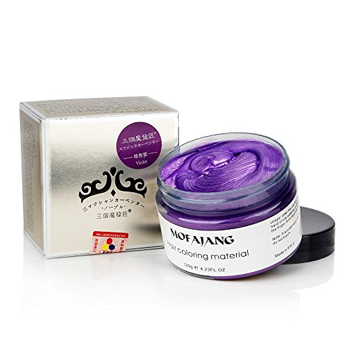 Hair Color Wax Wash Out Hair Color Instant Hair Wax Temporary Hair Color Hairstyle Cream 4.23 oz Hair Pomades Natural Hairstyle Wax for Men and Women (Purple)