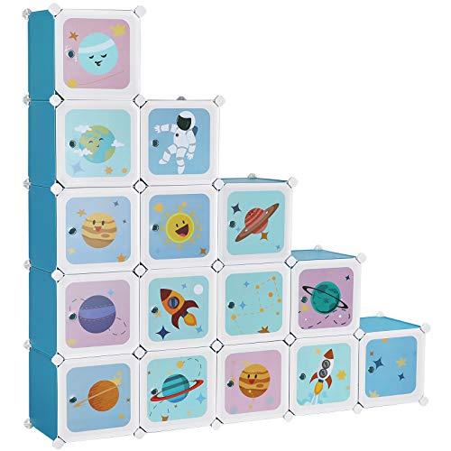 SONGMICS Armario Modular Infantil de 15 Cubos, Organizador Modular para niños, Estantes de Cubo de plástico, con Puertas, para Ropa, Zapatos, Juguetes, 153 x 31 x 153 cm, Azul LPC902Q01