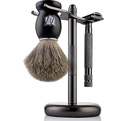 Miusco Men's Shaving Set, Safety Razor, Badger Hair Shaving Brush