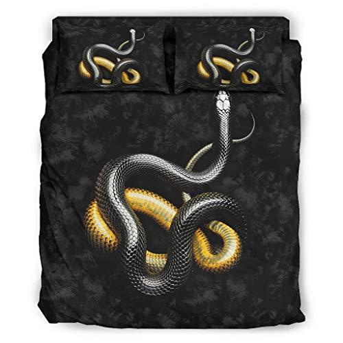 Fybirds Funda de cama hipoalergénica de serpiente negra y amarilla, fácil cuidado y sin arrugas, para dormitorio, 240 x 264 cm, color blanco