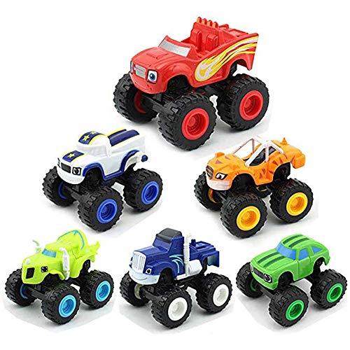 XBR 6 Pack de Juguetes para niños y Monster Machines Super Stunts Blaze Kids Truck Car Regalo para niños en cumpleaños Navidad Toys Juguetes para niños de 1 2 3 años Juego