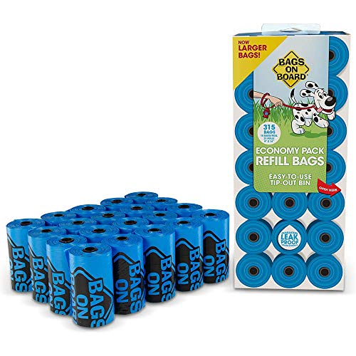 Bags On Board Dog Poop Bags | Strong, Leak Proof Dog Waste Bags | 9 x14 Inches, 315 Blue Bags