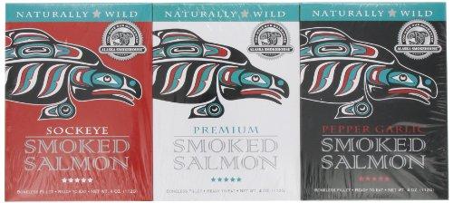 Alaska Smokehouse Trio of Smoked Salmon/Pepper Garlic/Sockeye Gift Set 4 ounce each