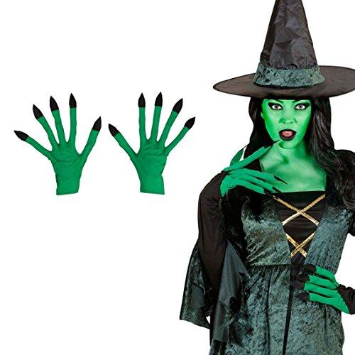 NET TOYS Hexen Handschuhe Zauberin Hände grün Hexenhandschuhe Grüne Hexenhände Walpurgis Alien Faschingshandschuhe Halloween Kostüm Zubehör