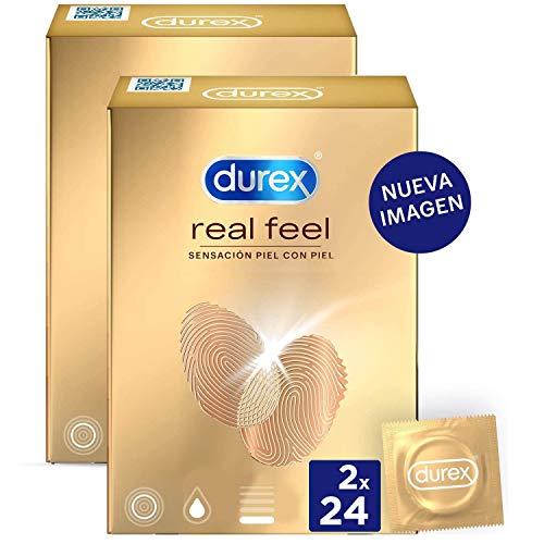 Durex Preservativos Real Feel - Condones Sensitivos Sin Látex - Duplo Pack 48 unidades