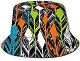 Unisex Caos Abstracto Cuadrados Coloridos Imprimir Viaje Sombrero de Cubo Gorra de Pescador de Verano Sombrero de Sol-Fondo de Plumas Patrón Retro