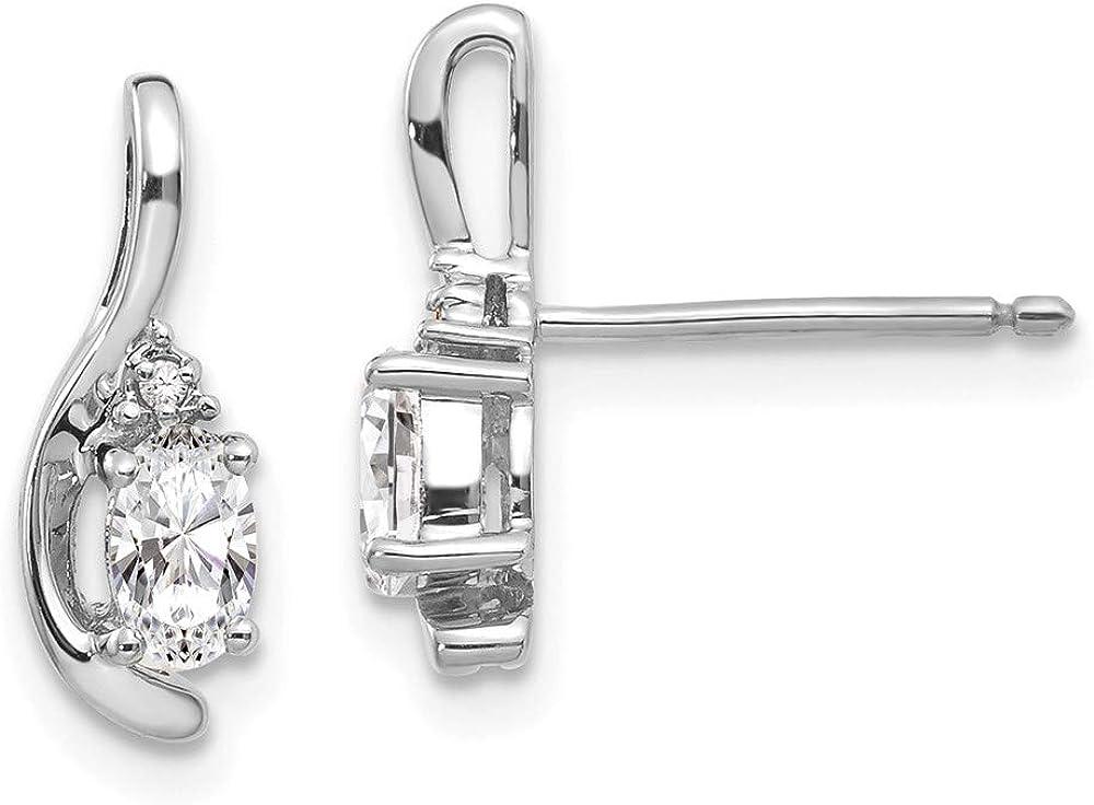 14k White Gold Topaz Diamond Post Stud Earrings Drop Dangle Birthstone April Fine Jewelry For Women Gifts For Her