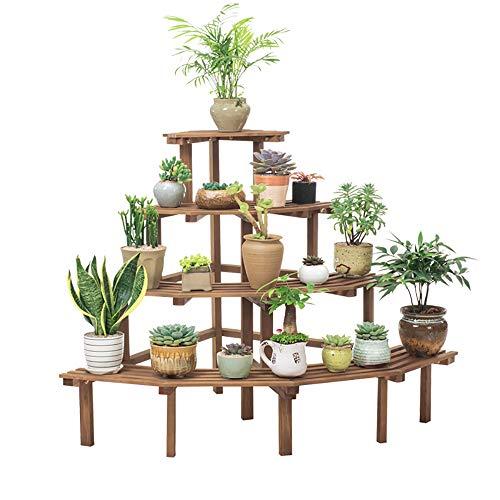 ANFAY 4 Ebenen aus Holz Eckzarge Pflanzenständer Multifunktional Blumentopf-Ständer Retro Topfgestell Umweltschutz Blumenständer, für Innen-Balkon Wohzimmer Outdoor Garten Deko