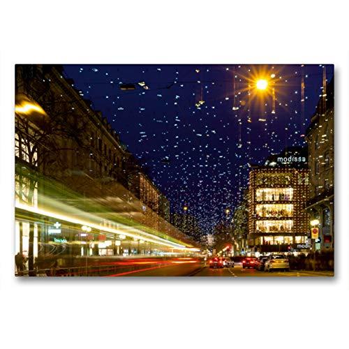 CALVENDO Premium Textil-Leinwand 90 x 60 cm Quer-Format Bahnhofstrasse in Zürich mit Weihnachtsbeleuchtung, Leinwanddruck von Enrico Caccia