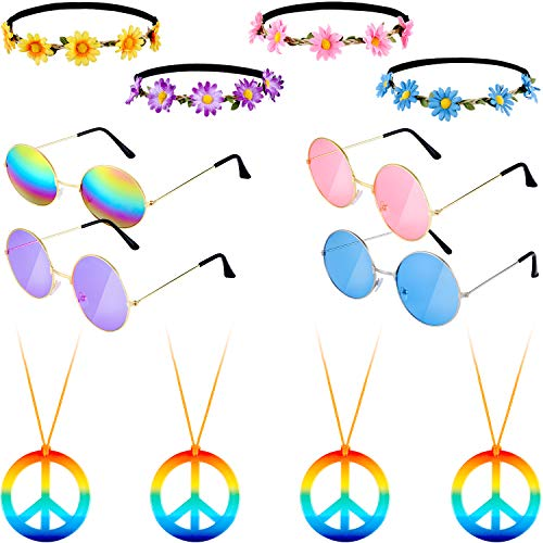 12 Pieces Hippie Dressing Accessory Set Includes 4 Pairs 60's Circle Colored Glasses 4 Pieces Sunflower Crown Headband 4 Pieces Rainbow Peace Necklace for Party Favor