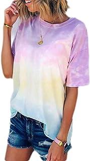 Loyomobak Women's Top Tee Tie Dye Print Round Neck Short Sleeve T-shirt Blouse