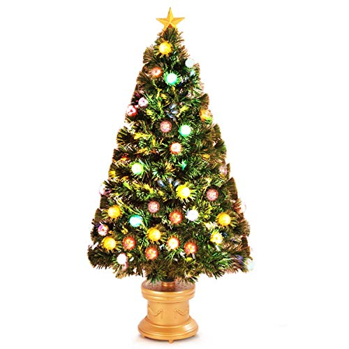 Goplus Artificial Tabletop Christmas Tree Green Optical Fiber 90 Tips PVC with 26 Plastic Colorful Balls & Golden Star Premium Decorations Solid Base Full Tree (4ft)