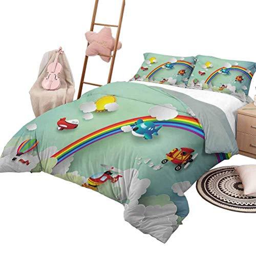 Juego de cama para niños Avión Globo aerostático Helicóptero Volando en el arco iris Cielo soleado Ilustración feliz del bebé Juego de funda nórdica para cuna Multi con 2 fundas de almohada, tamaño Tw