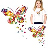 Colorful Butterfly Iron On Stickers for T-shirt, Jackets, Jeans, Bags, Rainbow Heart Patches Appliques Decals Heat Transfer Vinyl DIY Art Crafts Projects Clothing Decoration Supplies Accessories 2 Pcs