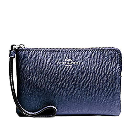 Coach Crossgrain Leather Metallic Corner Zip Wristlet Metallic Blue F58032