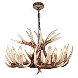 EFFORTINC Resina del estilo de la vendimia de los ciervos cornamenta del cuerno de la lámpara, 6 luces (bombillas no incluidas)
