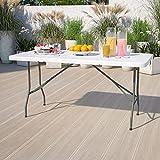 Flash Furniture 5-Foot Granite White Plastic Folding Table