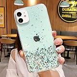 FYMIJJ Estuche para teléfono Star Bling Glitter para iPhone 12 11 Pro MAX X XR XS 6 6S 7 8 Plus SE 2 Clear Back con Soporte de corazón Bling Cover, Verde, para iPhone XR