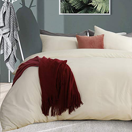 RUIKASI Superking Duvet Cover Non-Iron Zip Fastening with Smooth Velvet Feeling Fluffy and Warm for Winter Sleeping 3PCS Bedding Set Super King Size (3PC Super King, Cream)