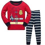 Boys Pajamas Set Printed Toddler Long Sleeve Cotton Outfits Sleepwear 2 Pcs 2-3T Red