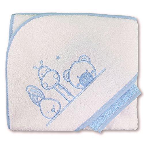 PEKITAS Bebe Capa De Baño Con Capucha y Manopla 75x75 cm 90% Algodón 10% Polyester Dibujo Bordado Fabricado En Portugal