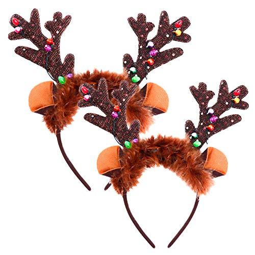 WeyTy Geweih Haarreif, Weihnachten Haarreif Led, Haarschmuck Weihnachten Rehgeweih Haarreif Weihnachten Kopfschmuck Rentier Haarreif Hirschgeweih Haarreif Weihnachtsgeweih für Damen Kinder, 2 Stück