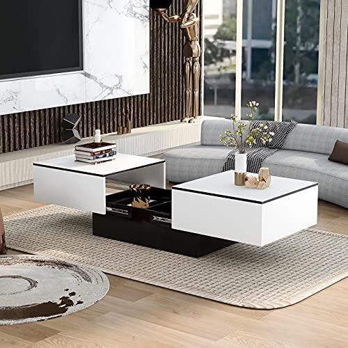 YHNHT Couchtisch, Moderner Couchtisch Hochglanz, Couchtisch mit Barfunktion, Hochglanz mit ausziehbarem Tisch und Stauraum Beistelltisch für Wohnzimmer Büro