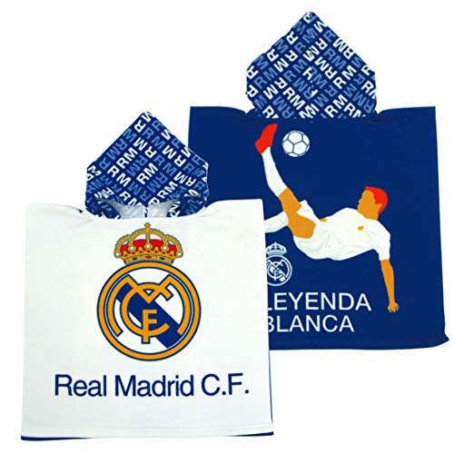 ARDITEX RM13839 Poncho de Microfibra con Capucha de 55X55cm de Clubs-Real Madrid CF
