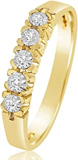 ∞ Anillo Mujer Compromiso Oro y Diamantes - Oro Amarillo 9 Kt 375 ∞ Diamantes 0.03 Kt