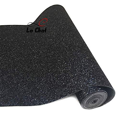 """La Chat 8"""" x 53"""" (21cm x 135cm) Roll Sparkly Superfine Glitter Vinyl Fabric Fine Glitter PU Leather Canvas Back Material for Shoes Bag Sewing Patchwork DIY Bow Craft Applique(Black with Silver"""