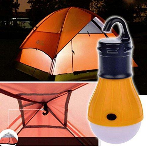 LEDMOMO Portable 3 ampoule d'éclairage de tente photophore à LED Flashlight pr Camping pêche batterie de secours alimenté par la lumière (Orange)