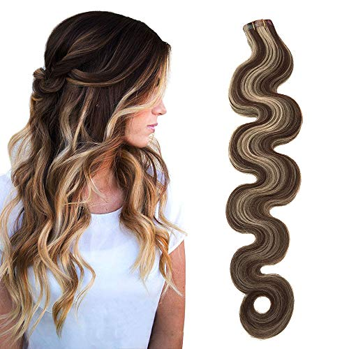 Echthaar Tape in Extensions Haarverdichtung Body Wave 50grams 20 Tressen x 4 cm breit Soft Heat Resistant Schokobraun to Hellblond Mixed Tape Extensions Echthaar (18Zoll,4-613)