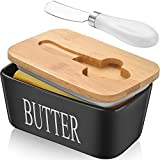 Große Butterdose mit Deckel, Keramik-Butterdose mit Messer, doppelte Silikondichtungen, leicht zu...