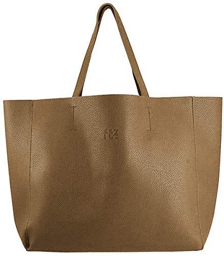 FEZbyFEZ Damen Schultertasche PU Leder Tasche mit Innentasche, Braun - bronze - Größe: Einheitsgröße