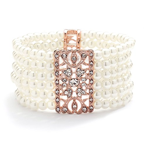 Mariell Rose Gold Vintage Ivory Glass Pearl & Crystal Stretch Bracelet - 6-Row Art Deco Bridal Jewelry