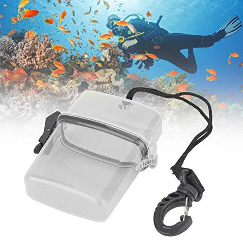 wasserdichte Box - 4,33 x 3,74 x 1,18 Zoll Kunststoff Transparente Unterwasser-Tauchbox mit Seilhaken für Strandschwimmen Bootfahren Angeln Wandern(Grau)