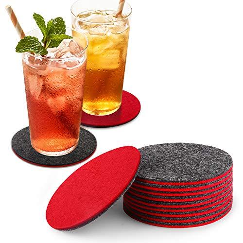 homeasy Glasuntersetzer Rot 10er Set Filzuntersetzer Rot und Grau Zweifärbige Rund Untersetzer für Gläser aus Filz mit Aufbewahrungsbox für Tisch und Bar
