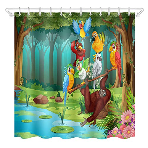 N / A Forest Creek Cartoon Tier Duschvorhang Märchen Badezimmer Polyester Stoff für Badewanne Dekor-B180xH240cm