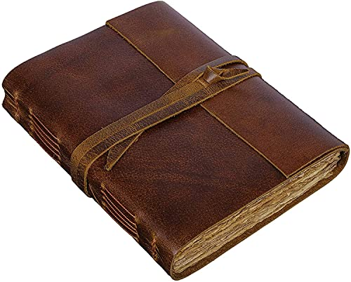 Vintage Leather Journal Handmade Leather Bound Antique Journal Deckle Edge Paper Perfect for Writing Book of Shadows 220 pages -(8' x 6', Vintage Brown) Leather Journal Diary For Men And Women