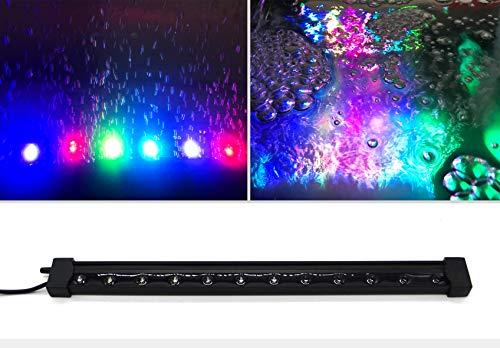 BPS [2 en 1] Doble Función Máquina de Acuario Difusor de Aire Burbujas y LED Lampara Acuario para Tanque Acuario Pecera 2 Tamaños (33 cm) BPS-6739