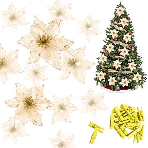 Whaline 24 st guldjulstjärnor konstgjorda julblommor med 24-pack klämmor, glitter julgransprydnader jul bröllopsfest dekor (13 x 13 cm)