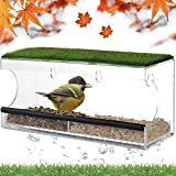 Window Bird Feeders with Strong Suction Cups-Window Bird Feeder for Outside with Artificial Grass-Removable Seed Tray, Drainage Holes, Easy to Clean (Rectangle)